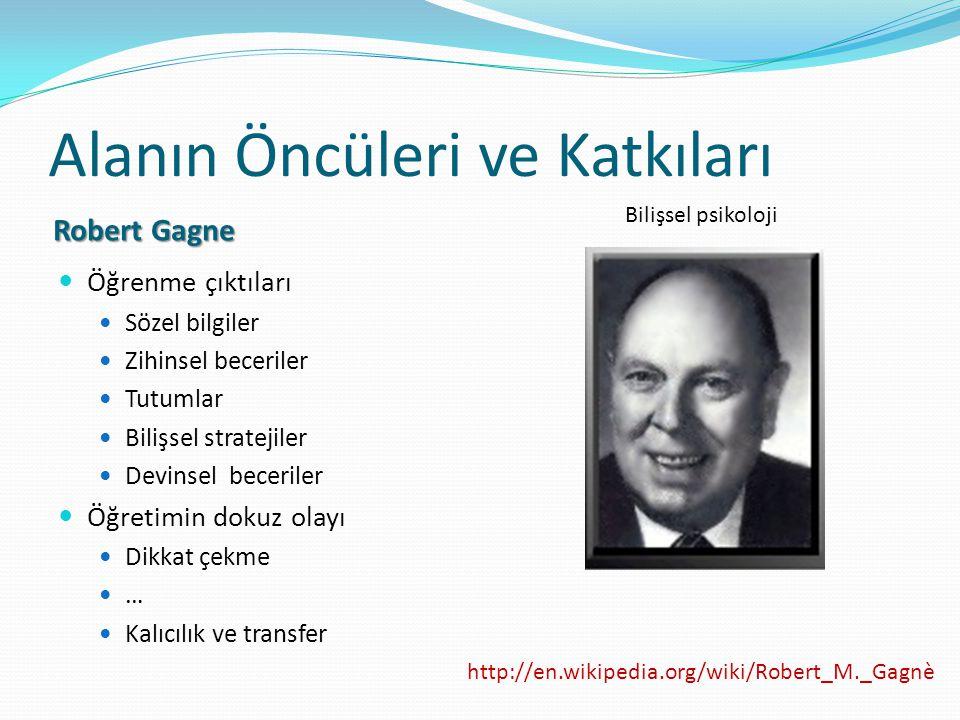 Alanın Öncüleri ve Katkıları Robert Gagne Öğrenme çıktıları Sözel bilgiler Zihinsel beceriler Tutumlar Bilişsel stratejiler Devinsel beceriler Öğretim