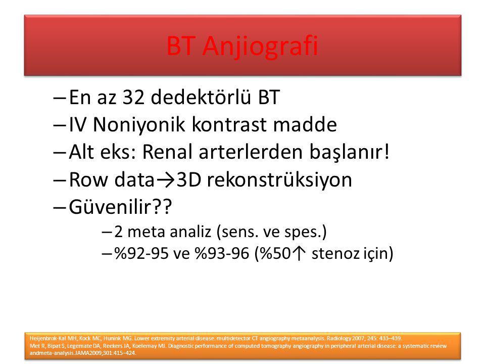 – En az 32 dedektörlü BT – IV Noniyonik kontrast madde – Alt eks: Renal arterlerden başlanır! – Row data→3D rekonstrüksiyon – Güvenilir?? – 2 meta ana