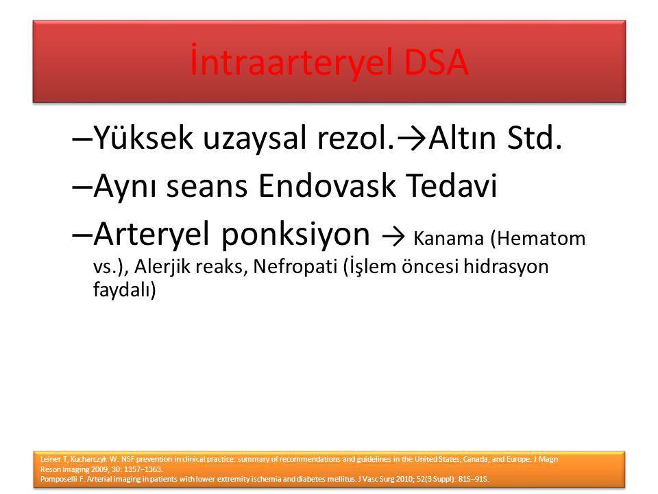 – Yüksek uzaysal rezol.→Altın Std. – Aynı seans Endovask Tedavi – Arteryel ponksiyon → Kanama (Hematom vs.), Alerjik reaks, Nefropati (İşlem öncesi hi