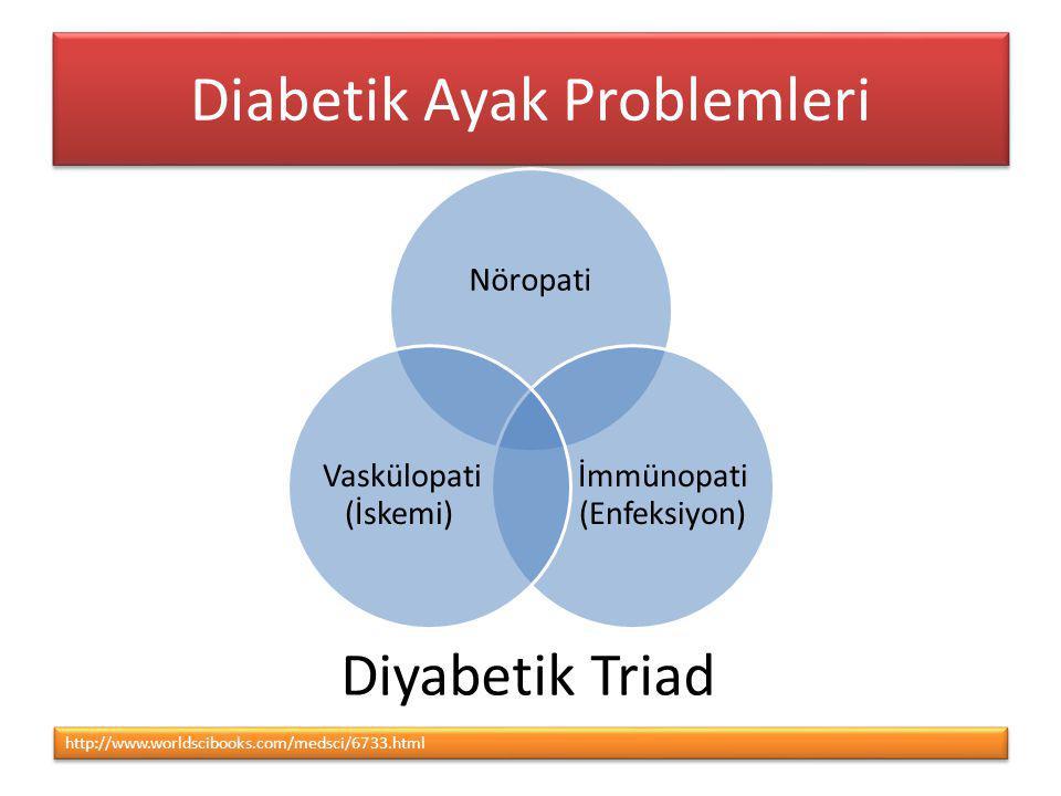 Diabetik Ayak Problemleri http://www.worldscibooks.com/medsci/6733.html Nöropati İmmünopati (Enfeksiyon) Vaskülopati (İskemi) Diyabetik Triad