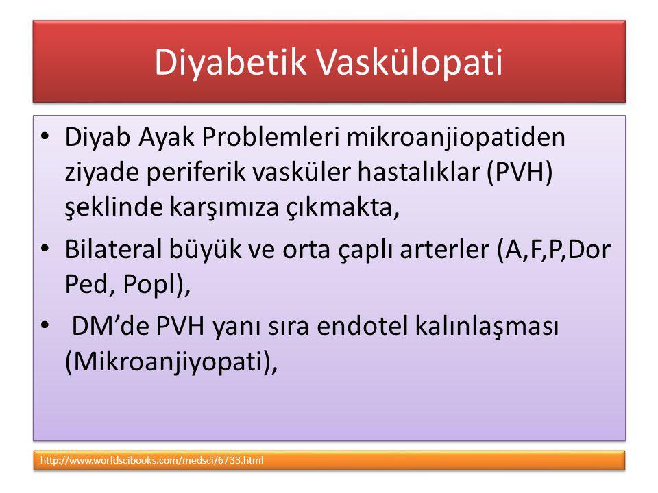 Diyabetik Vaskülopati Diyab Ayak Problemleri mikroanjiopatiden ziyade periferik vasküler hastalıklar (PVH) şeklinde karşımıza çıkmakta, Bilateral büyü
