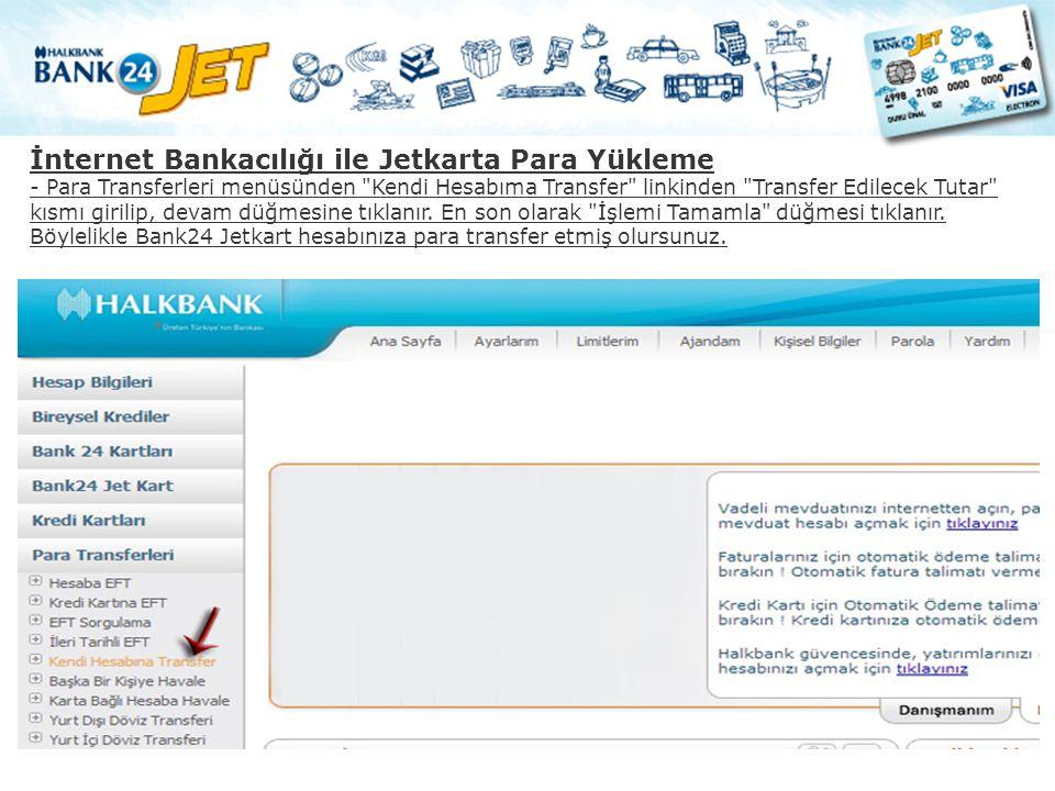 İnternet Bankacılığı ile Jetkarta Para Yükleme - Para Transferleri menüsünden