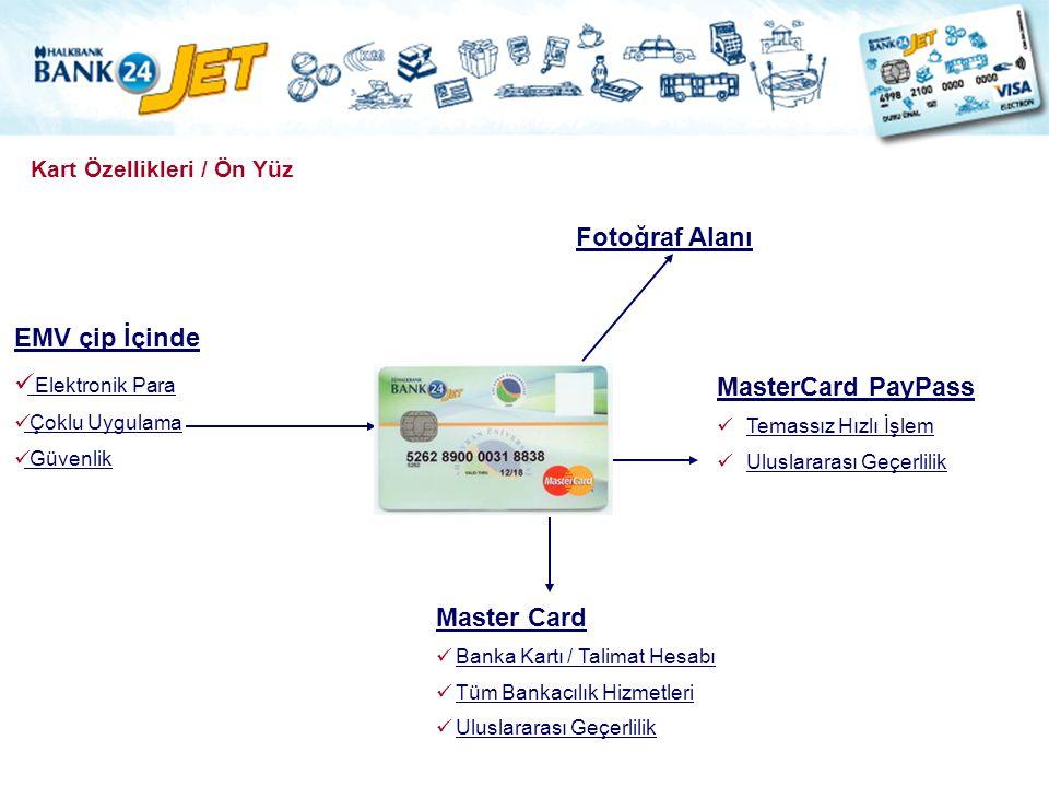 Kart Özellikleri / Ön Yüz Master Card Banka Kartı / Talimat Hesabı Tüm Bankacılık Hizmetleri Uluslararası Geçerlilik MasterCard PayPass Temassız Hızlı