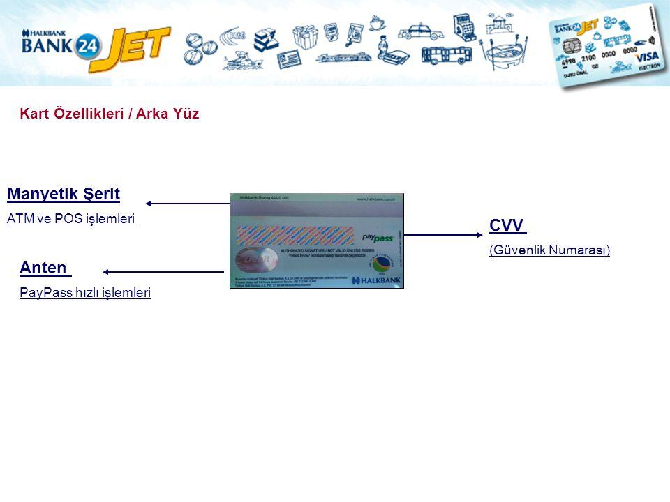 Kart Özellikleri / Arka Yüz Manyetik Şerit ATM ve POS işlemleri CVV (Güvenlik Numarası) Anten PayPass hızlı işlemleri