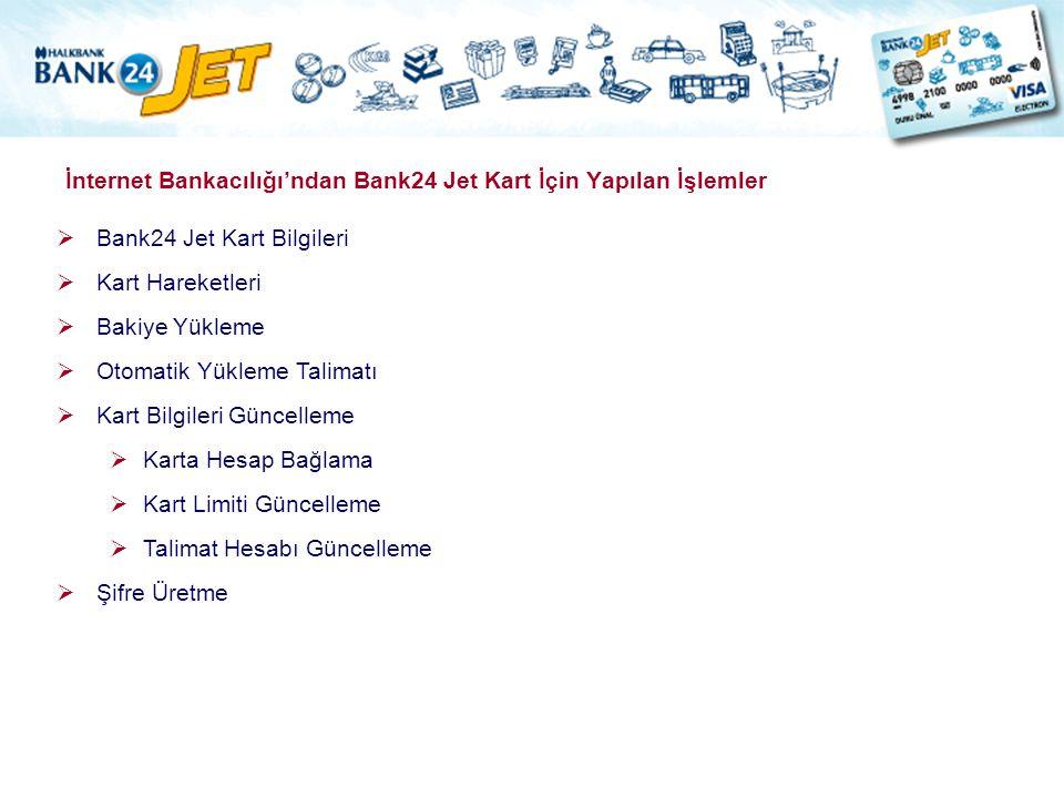 İnternet Bankacılığı'ndan Bank24 Jet Kart İçin Yapılan İşlemler  Bank24 Jet Kart Bilgileri  Kart Hareketleri  Bakiye Yükleme  Otomatik Yükleme Tal