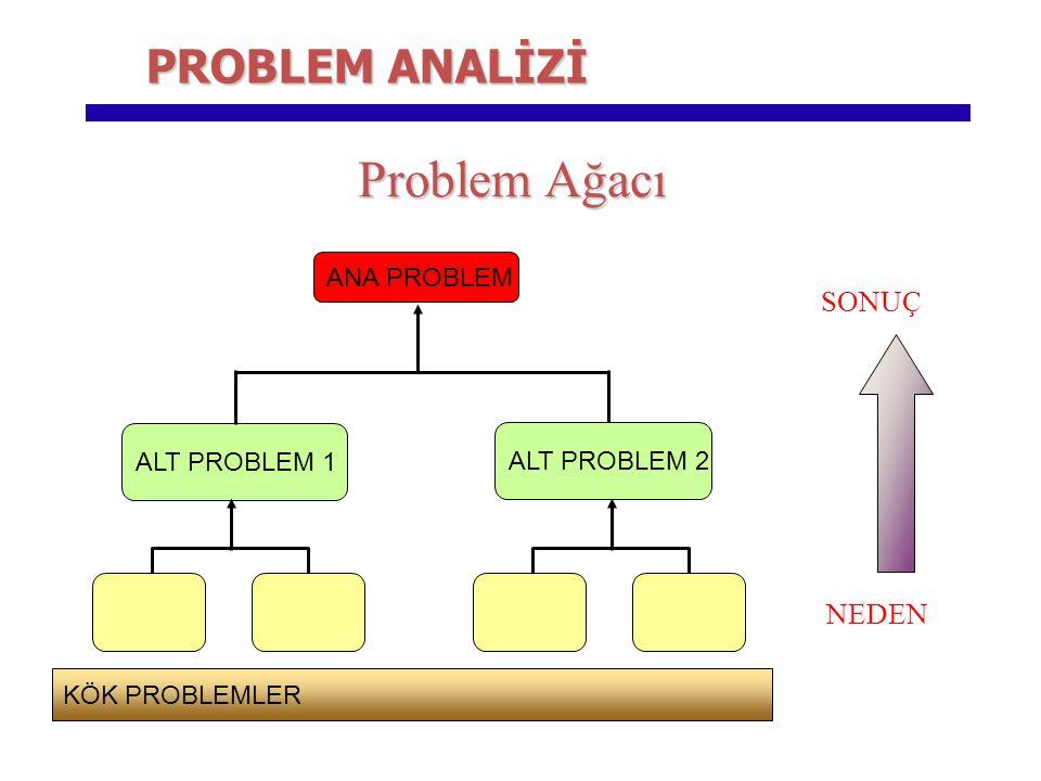 Problem Ağacı ANA PROBLEM ALT PROBLEM 1 NEDEN SONUÇ ALT PROBLEM 2 KÖK PROBLEMLER PROBLEM ANALİZİ