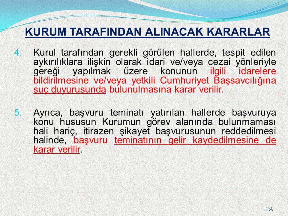 KURUM TARAFINDAN ALINACAK KARARLAR 4. Kurul tarafından gerekli görülen hallerde, tespit edilen aykırılıklara ilişkin olarak idari ve/veya cezai yönler