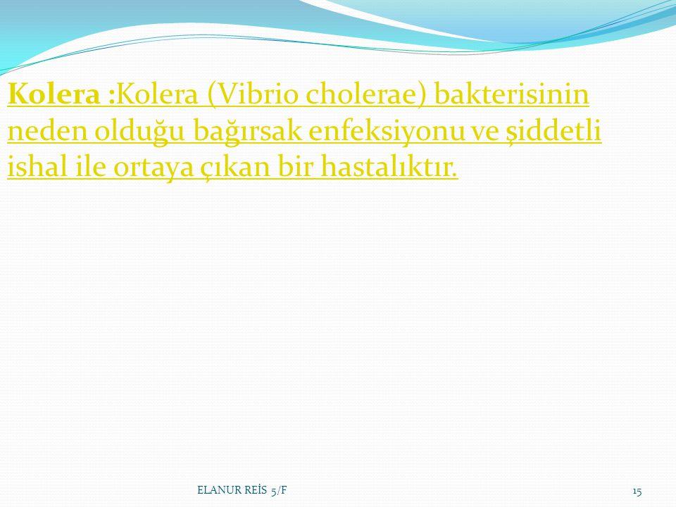 Kolera :Kolera (Vibrio cholerae) bakterisinin neden olduğu bağırsak enfeksiyonu ve şiddetli ishal ile ortaya çıkan bir hastalıktır.