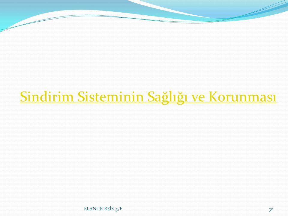 Sindirim Sisteminin Sağlığı ve Korunması ELANUR REİS 5/F30
