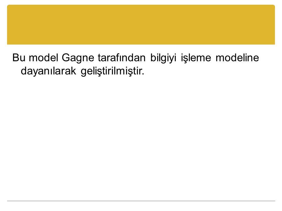 Bu model Gagne tarafından bilgiyi işleme modeline dayanılarak geliştirilmiştir.