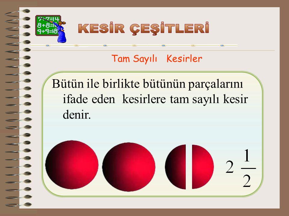 Birleşik Kesirler 5, 9, 15, 46…sayıları birer birleşik 3 7 8 21 kesirdir. 25, 56, 78, 47,…sayıları da birer birleşik 17 25 65 36 kesirdir.