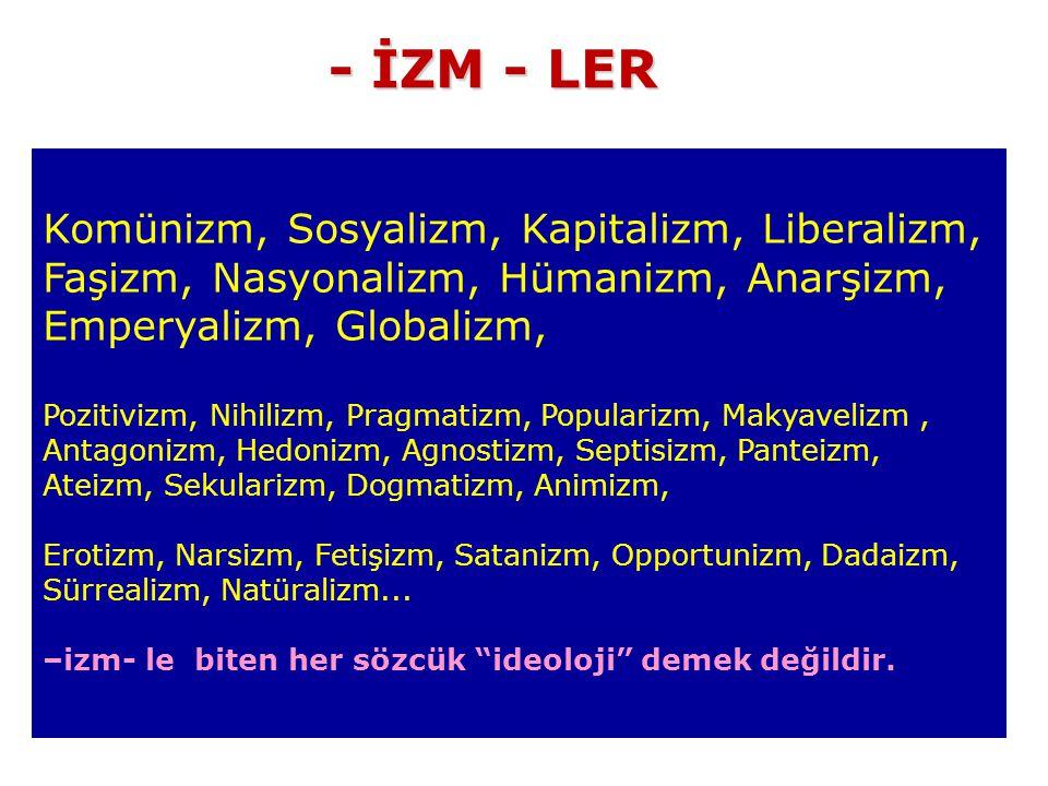 Komünizm, Sosyalizm, Kapitalizm, Liberalizm, Faşizm, Nasyonalizm, Hümanizm, Anarşizm, Emperyalizm, Globalizm, Pozitivizm, Nihilizm, Pragmatizm, Popularizm, Makyavelizm, Antagonizm, Hedonizm, Agnostizm, Septisizm, Panteizm, Ateizm, Sekularizm, Dogmatizm, Animizm, Erotizm, Narsizm, Fetişizm, Satanizm, Opportunizm, Dadaizm, Sürrealizm, Natüralizm...