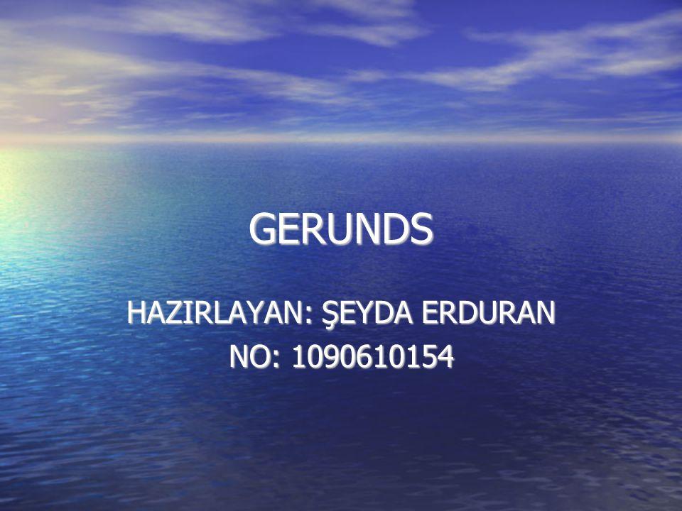 GERUNDS HAZIRLAYAN: ŞEYDA ERDURAN NO: 1090610154