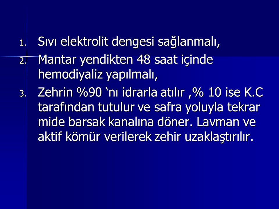 1.Sıvı elektrolit dengesi sağlanmalı, 2. Mantar yendikten 48 saat içinde hemodiyaliz yapılmalı, 3.