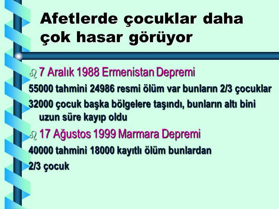 Afetlerde çocuklar daha çok hasar görüyor b 7 Aralık 1988 Ermenistan Depremi 55000 tahmini 24986 resmi ölüm var bunların 2/3 çocuklar 32000 çocuk başka bölgelere taşındı, bunların altı bini uzun süre kayıp oldu b 17 Ağustos 1999 Marmara Depremi 40000 tahmini 18000 kayıtlı ölüm bunlardan 2/3 çocuk
