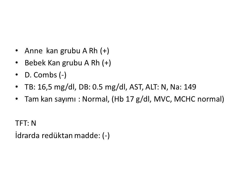 Anne kan grubu A Rh (+) Bebek Kan grubu A Rh (+) D. Combs (-) TB: 16,5 mg/dl, DB: 0.5 mg/dl, AST, ALT: N, Na: 149 Tam kan sayımı : Normal, (Hb 17 g/dl