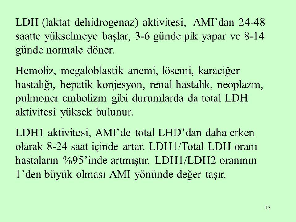 13 LDH (laktat dehidrogenaz) aktivitesi, AMI'dan 24-48 saatte yükselmeye başlar, 3-6 günde pik yapar ve 8-14 günde normale döner. Hemoliz, megaloblast