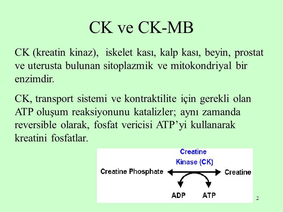 2 CK ve CK-MB CK (kreatin kinaz), iskelet kası, kalp kası, beyin, prostat ve uterusta bulunan sitoplazmik ve mitokondriyal bir enzimdir. CK, transport