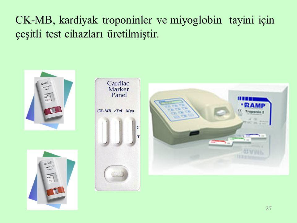 27 CK-MB, kardiyak troponinler ve miyoglobin tayini için çeşitli test cihazları üretilmiştir.