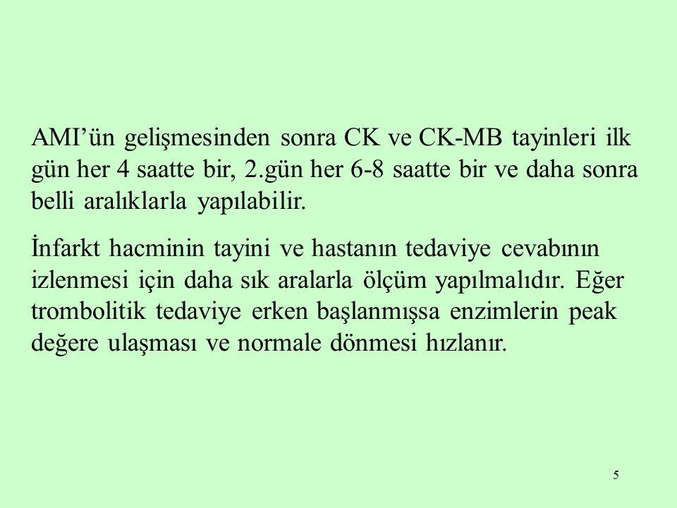 5 AMI'ün gelişmesinden sonra CK ve CK-MB tayinleri ilk gün her 4 saatte bir, 2.gün her 6-8 saatte bir ve daha sonra belli aralıklarla yapılabilir. İnf