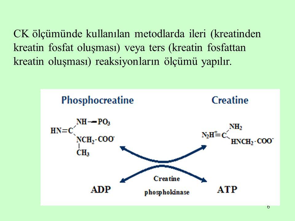 6 CK ölçümünde kullanılan metodlarda ileri (kreatinden kreatin fosfat oluşması) veya ters (kreatin fosfattan kreatin oluşması) reaksiyonların ölçümü y