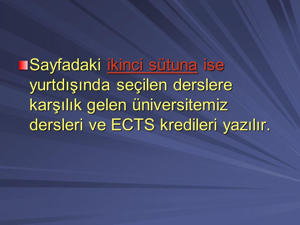 Sayfadaki ikinci sütuna ise yurtdışında seçilen derslere karşılık gelen üniversitemiz dersleri ve ECTS kredileri yazılır.