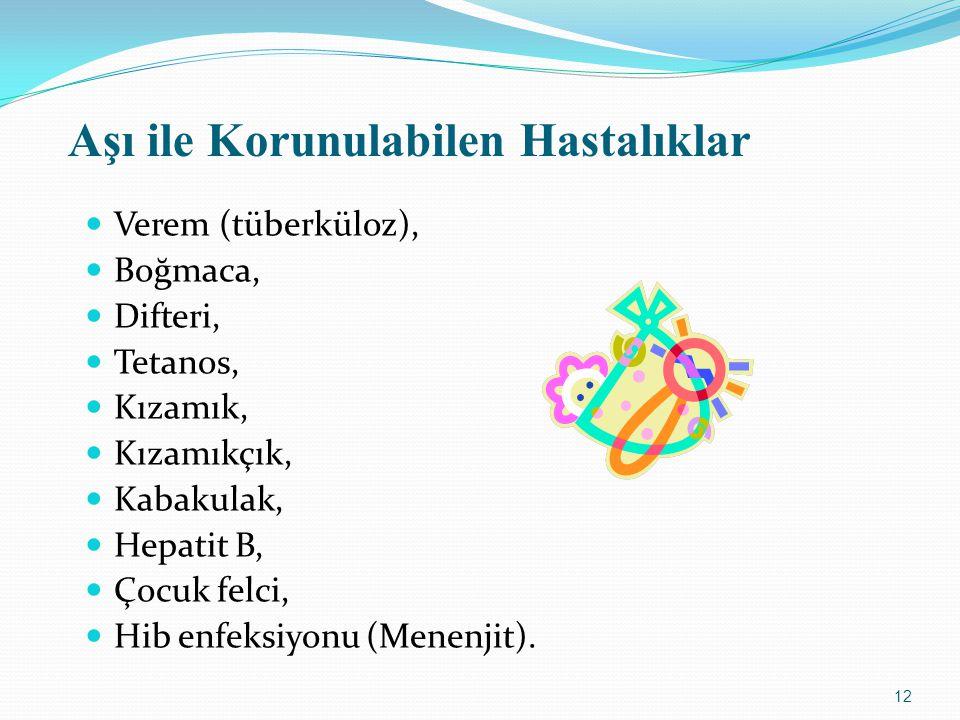 Aşı ile Korunulabilen Hastalıklar Verem (tüberküloz), Boğmaca, Difteri, Tetanos, Kızamık, Kızamıkçık, Kabakulak, Hepatit B, Çocuk felci, Hib enfeksiyonu (Menenjit).