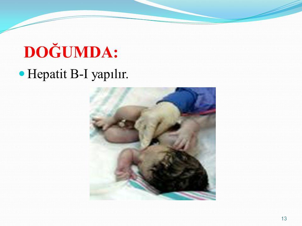 DOĞUMDA: Hepatit B-I yapılır. 13