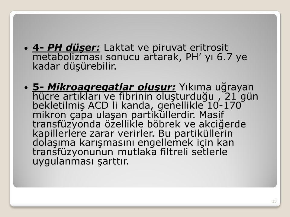 4- PH düşer: Laktat ve piruvat eritrosit metabolizması sonucu artarak, PH' yı 6.7 ye kadar düşürebilir. 5- Mikroagregatlar oluşur: Yıkıma uğrayan hücr