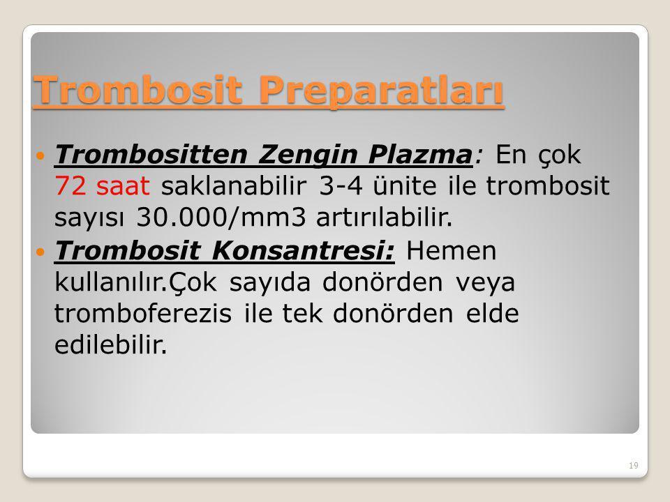 Trombosit Preparatları Trombositten Zengin Plazma: En çok 72 saat saklanabilir 3-4 ünite ile trombosit sayısı 30.000/mm3 artırılabilir. Trombosit Kons