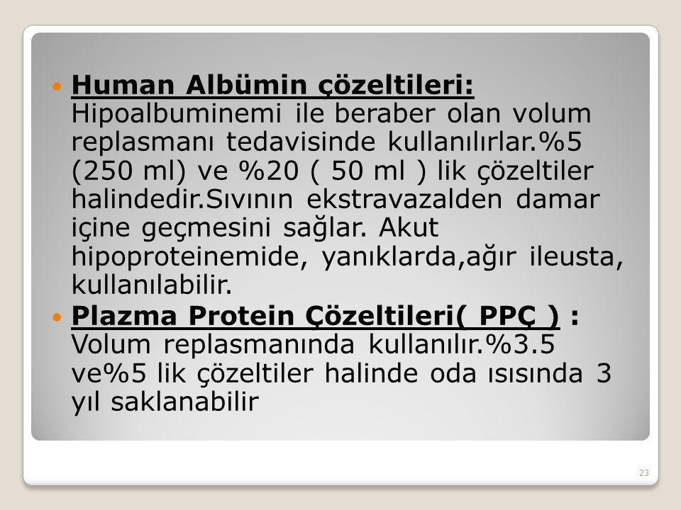 Human Albümin çözeltileri: Hipoalbuminemi ile beraber olan volum replasmanı tedavisinde kullanılırlar.%5 (250 ml) ve %20 ( 50 ml ) lik çözeltiler halindedir.Sıvının ekstravazalden damar içine geçmesini sağlar.
