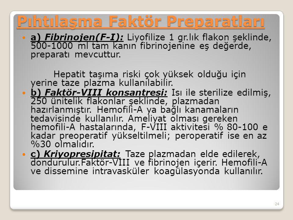 Pıhtılaşma Faktör Preparatları a) Fibrinojen(F-I): Liyofilize 1 gr.lık flakon şeklinde, 500-1000 ml tam kanın fibrinojenine eş değerde, preparatı mevcuttur.