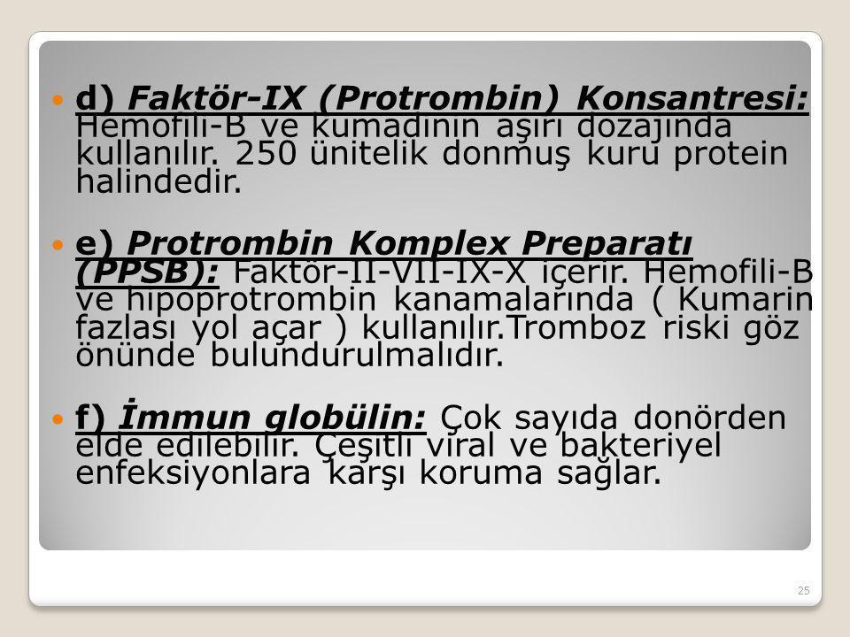 d) Faktör-IX (Protrombin) Konsantresi: Hemofili-B ve kumadinin aşırı dozajında kullanılır. 250 ünitelik donmuş kuru protein halindedir. e) Protrombin