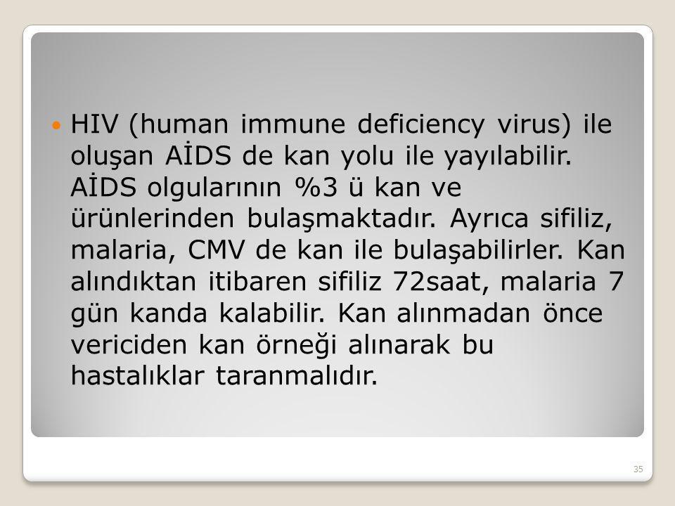 HIV (human immune deficiency virus) ile oluşan AİDS de kan yolu ile yayılabilir. AİDS olgularının %3 ü kan ve ürünlerinden bulaşmaktadır. Ayrıca sifil