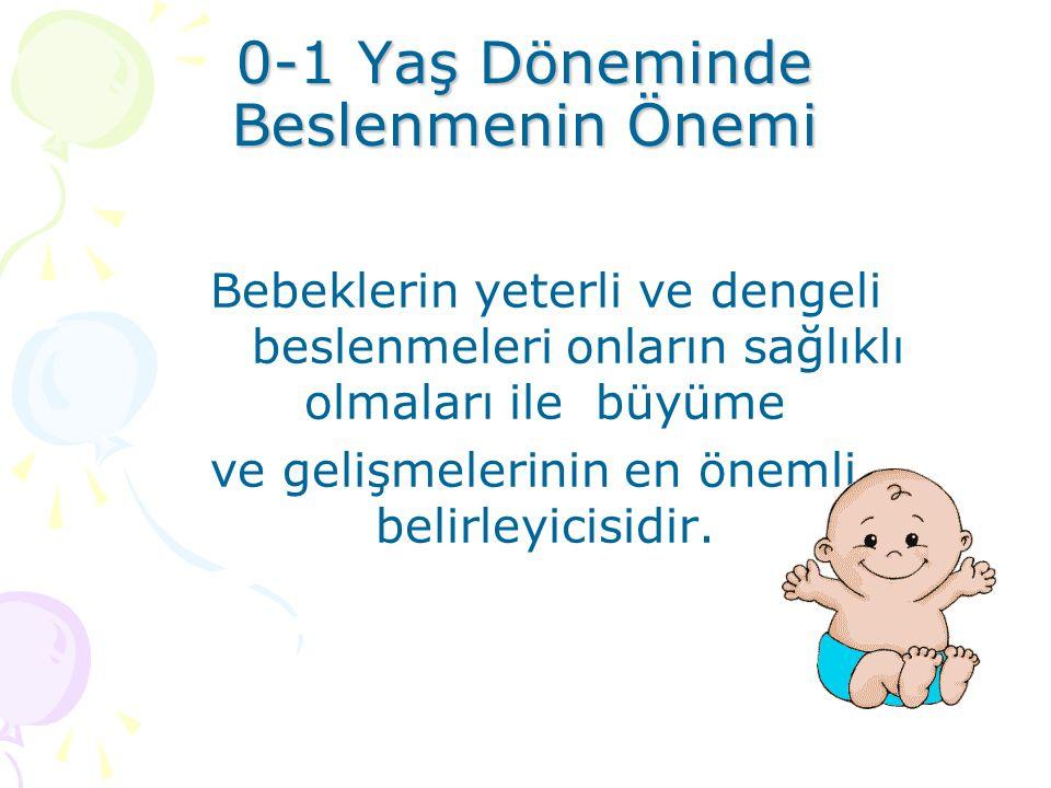 0-1 Yaş Döneminde Beslenmenin Önemi Bebeklerin yeterli ve dengeli beslenmeleri onların sağlıklı olmaları ile büyüme ve gelişmelerinin en önemli belirl