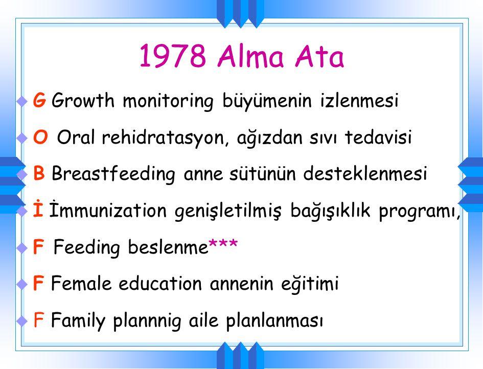 1978 Alma Ata u G Growth monitoring büyümenin izlenmesi u O Oral rehidratasyon, ağızdan sıvı tedavisi u B Breastfeeding anne sütünün desteklenmesi u İ İmmunization genişletilmiş bağışıklık programı, u F Feeding beslenme*** u F Female education annenin eğitimi u F Family plannnig aile planlanması