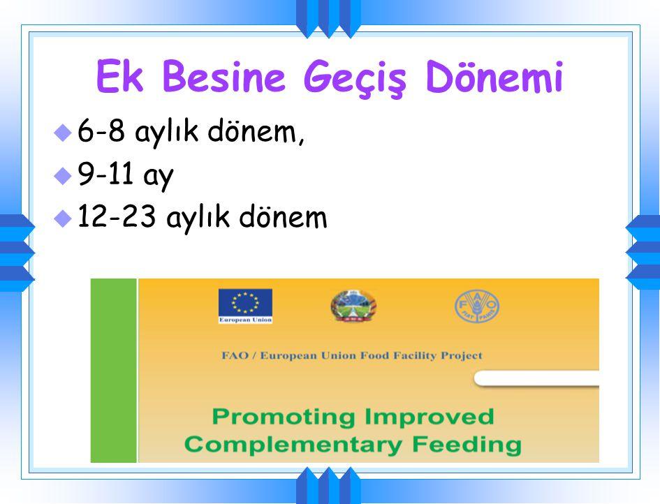 Ek gıdalarla beslenme Çocuğa uygun verilmeli Ek besin tek öğün olarak ve çok az miktarlarda verilmeye başlanmalı Giderek artırılmalı 3-4 gün sonra yen