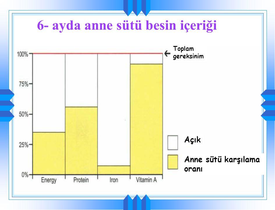 Demir gereksinimi 6. ay Demir açığı Demir deposu(D) Anne sütünün karşılama oranı