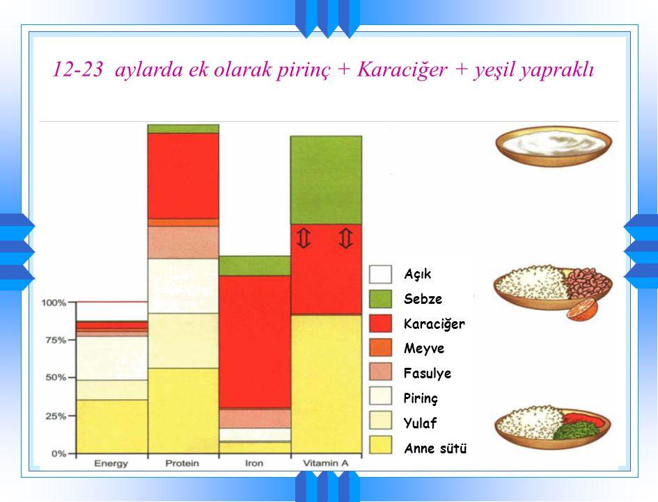 12-23 aylarda ek olarak pirinç + Karaciğer + yeşil yapraklı Toplam gereksinim Pirinç & balık& sebze Açık Sebze Karaciğer Pirinç Anne sütü