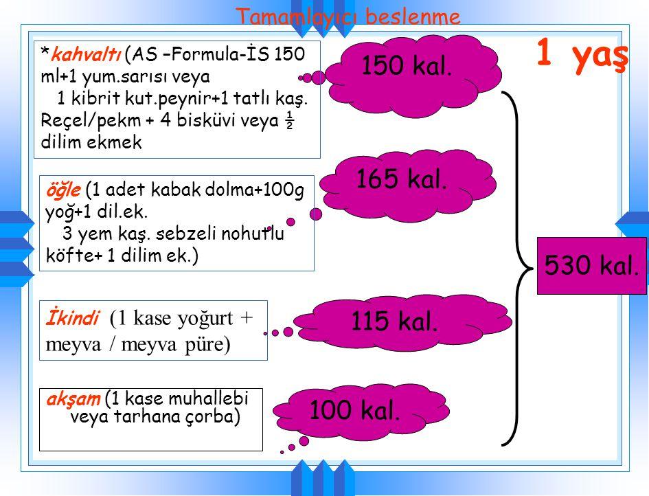 Besin öğeleriMiktarEnerji (kcal/kg) Kalorik dansite Sade yoğurt150900.6/g Şekerli yoğurt1501200.8/g Meyveli yoğurt 1501150.76/g Çorba150750.5/g Etli ç