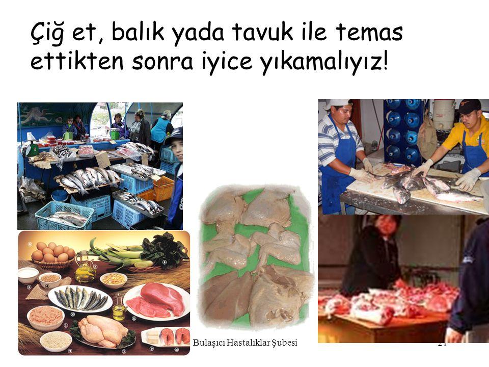 Bulaşıcı Hastalıklar Şubesi 21 Çiğ et, balık yada tavuk ile temas ettikten sonra iyice yıkamalıyız!