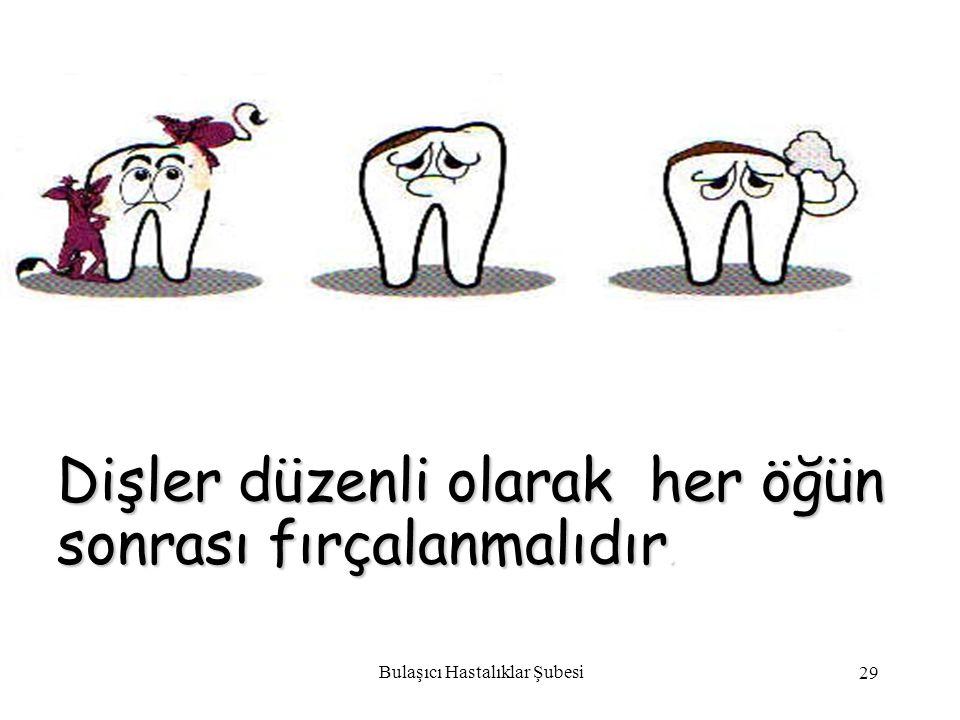 Bulaşıcı Hastalıklar Şubesi 29 Dişler düzenli olarak her öğün sonrası fırçalanmalıdır.