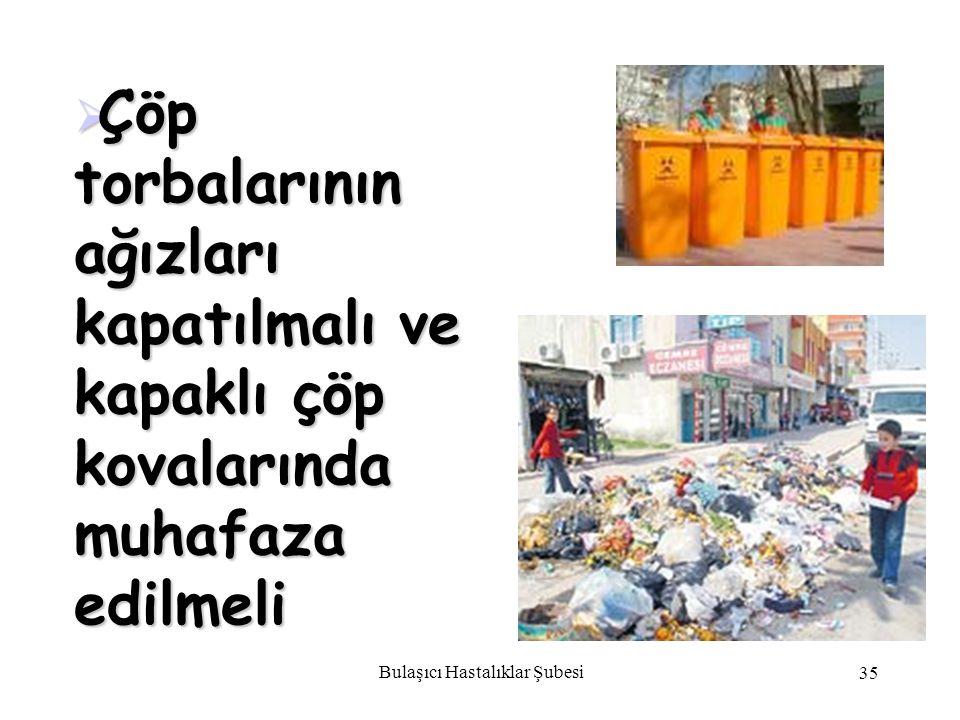 Bulaşıcı Hastalıklar Şubesi 35  Çöp torbalarının ağızları kapatılmalı ve kapaklı çöp kovalarında muhafaza edilmeli