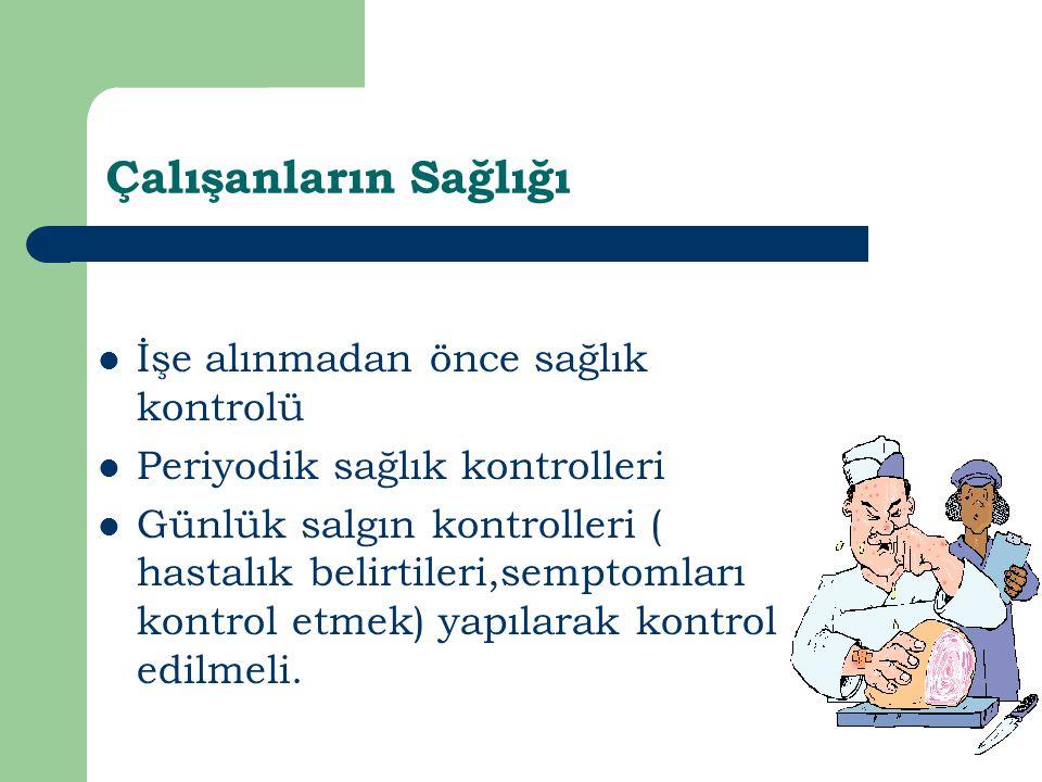 Çalışanların Sağlığı İşe alınmadan önce sağlık kontrolü Periyodik sağlık kontrolleri Günlük salgın kontrolleri ( hastalık belirtileri,semptomları kont