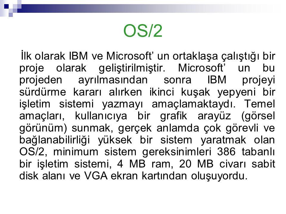 OS/2 İlk olarak IBM ve Microsoft' un ortaklaşa çalıştığı bir proje olarak geliştirilmiştir. Microsoft' un bu projeden ayrılmasından sonra IBM projeyi