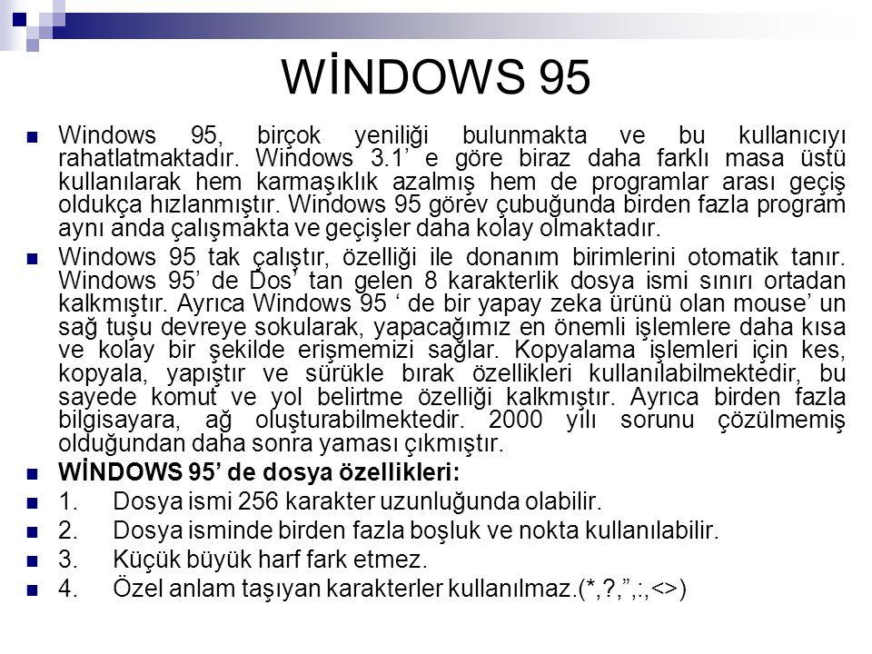 WİNDOWS 95 Windows 95, birçok yeniliği bulunmakta ve bu kullanıcıyı rahatlatmaktadır. Windows 3.1' e göre biraz daha farklı masa üstü kullanılarak hem