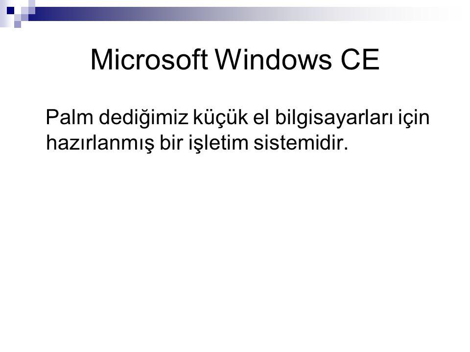 Microsoft Windows CE Palm dediğimiz küçük el bilgisayarları için hazırlanmış bir işletim sistemidir.