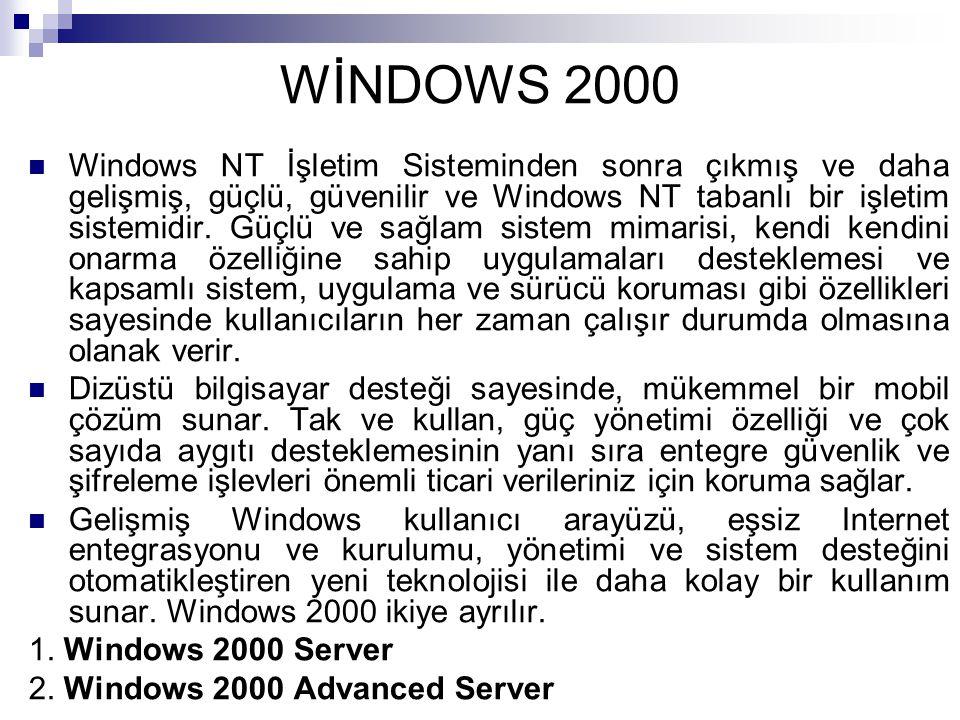 WİNDOWS 2000 Windows NT İşletim Sisteminden sonra çıkmış ve daha gelişmiş, güçlü, güvenilir ve Windows NT tabanlı bir işletim sistemidir. Güçlü ve sağ
