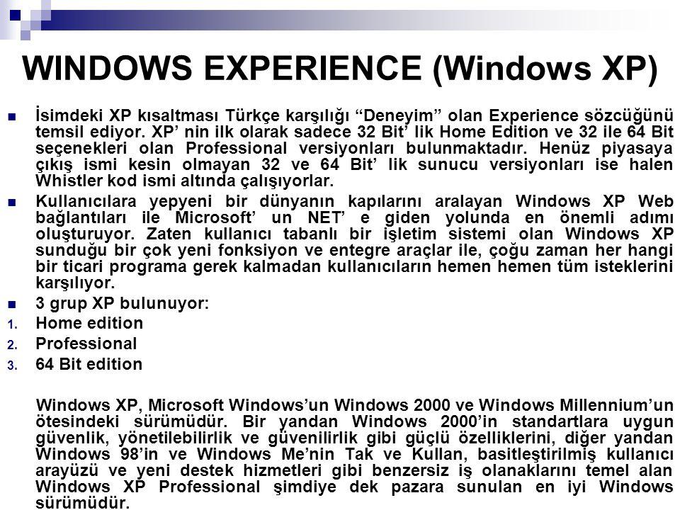 """WINDOWS EXPERIENCE (Windows XP) İsimdeki XP kısaltması Türkçe karşılığı """"Deneyim"""" olan Experience sözcüğünü temsil ediyor. XP' nin ilk olarak sadece 3"""