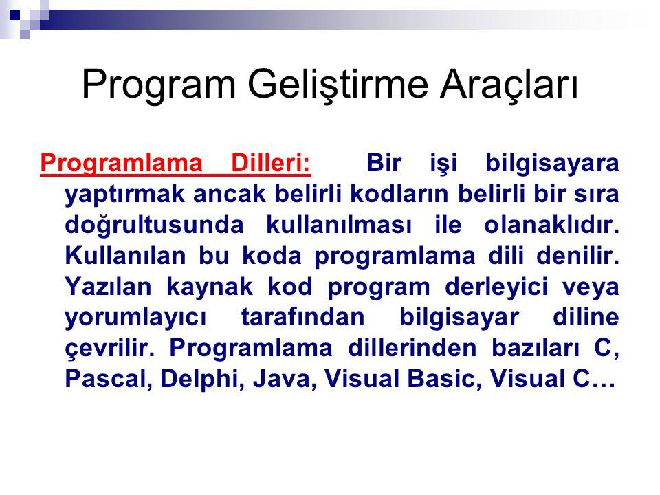 Program Geliştirme Araçları Programlama Dilleri: Bir işi bilgisayara yaptırmak ancak belirli kodların belirli bir sıra doğrultusunda kullanılması ile olanaklıdır.
